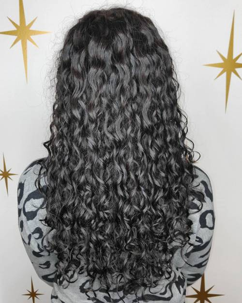 Long Black Permed Hair