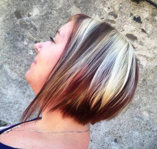 three-tone layered bob
