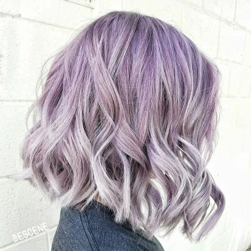 Wavy Pastel Purple Bob With Highlights
