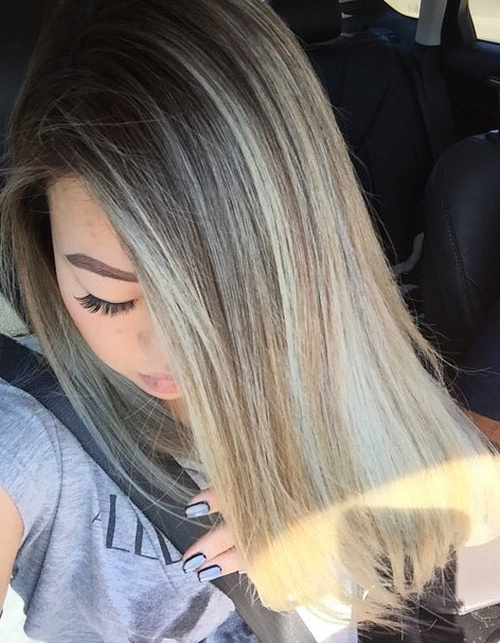 brown hair with ash blonde balayage highlights