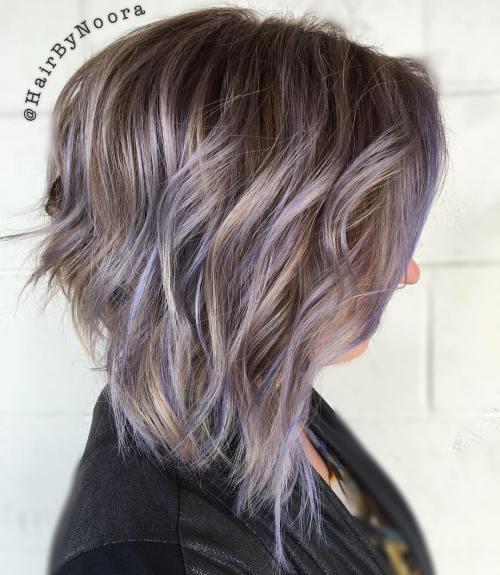 Light Brown Hair With Pastel Purple Balayage
