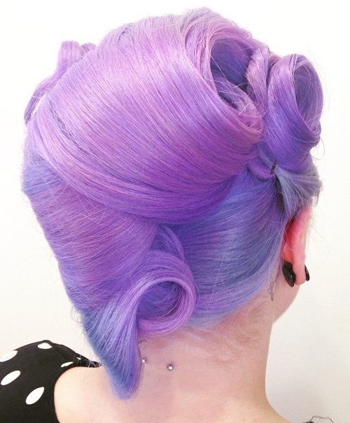 purple updo with side and back victory rolls