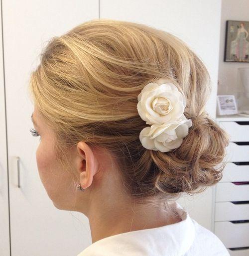 bun hairstyles with bangs : wedding bun for shorter hair