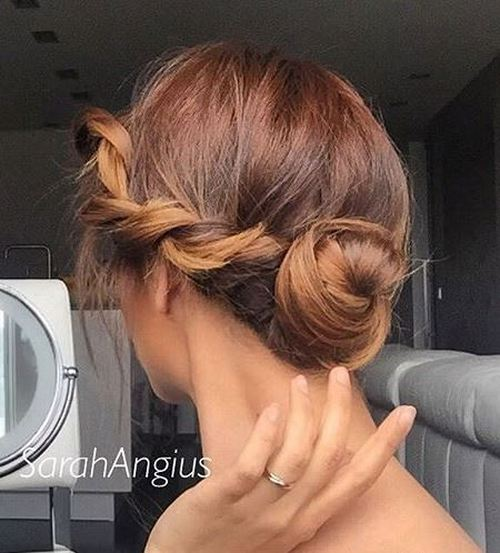 cute bun with a side twist