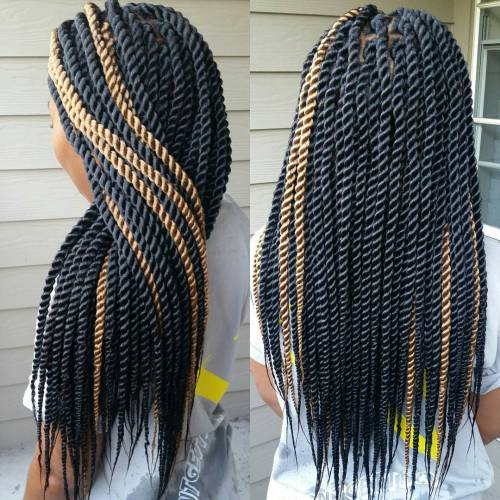 Black Senegalese Twists With Blonde Highlights