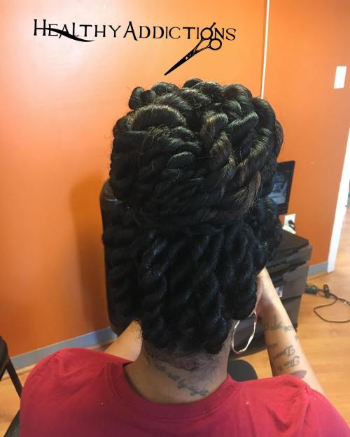 Bun Updo For Small Senegalese Twists