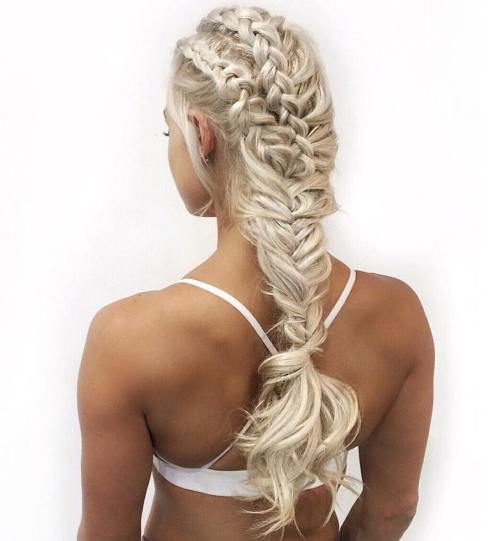 sporty hairstyle with fishtail braid