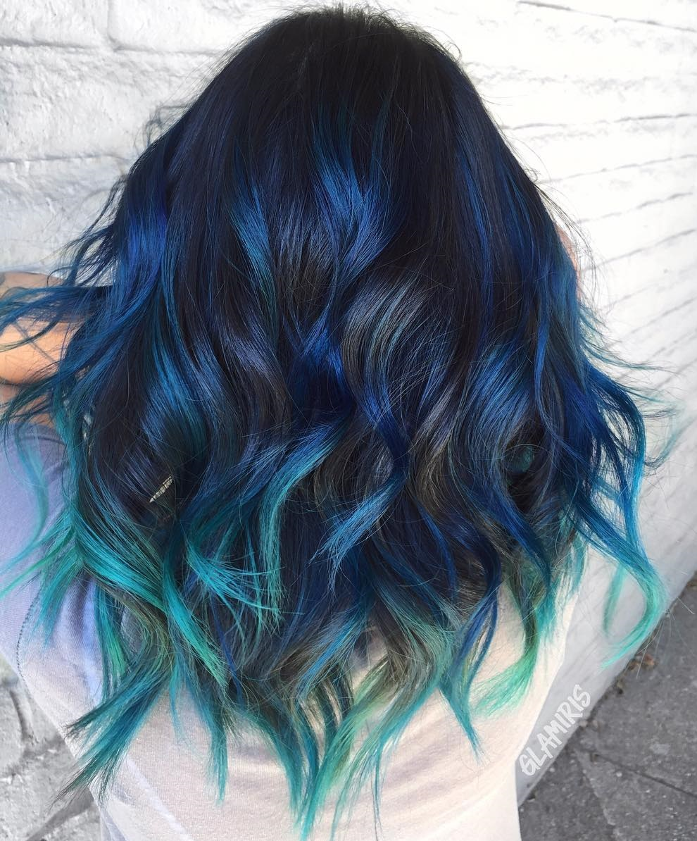 Pictures of black hair with blue highlights