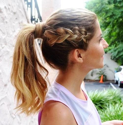 messy pony with a side braid hairstyle for gym
