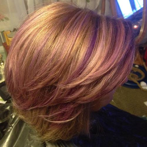 pastel pink and purple highlights for golden blonde hair