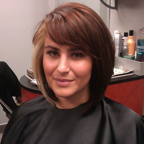 collarbone angled bob with side bangs