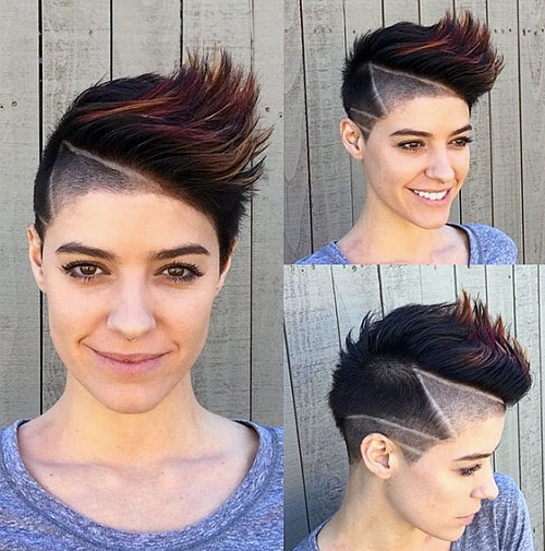 pixie with side undercut and shaved lines