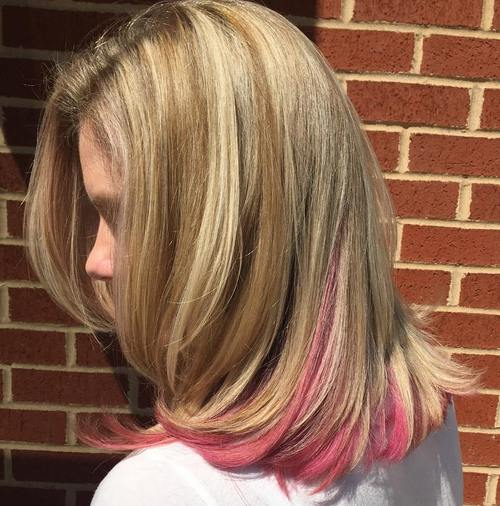 blonde hair with pink peekaboo highlights