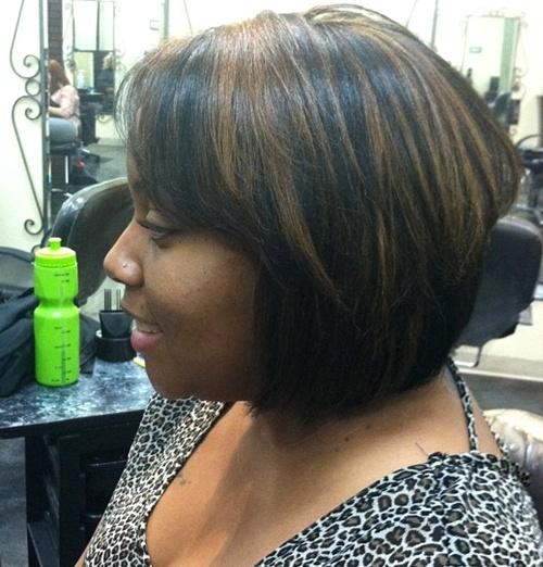 black layered bob with bangs