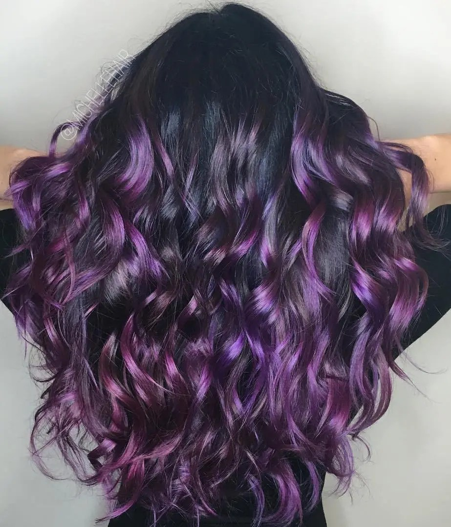 The Story Of Black Hair With Purple Highlights Has Just Gone Viral