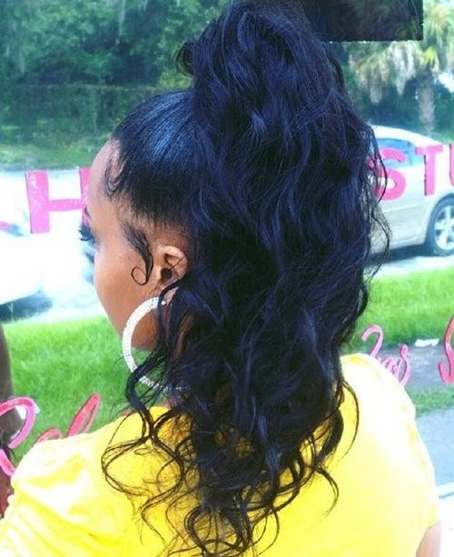 long black wavy ponytail