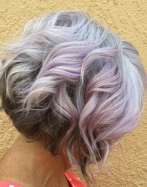 pastel purple bob for women over 50