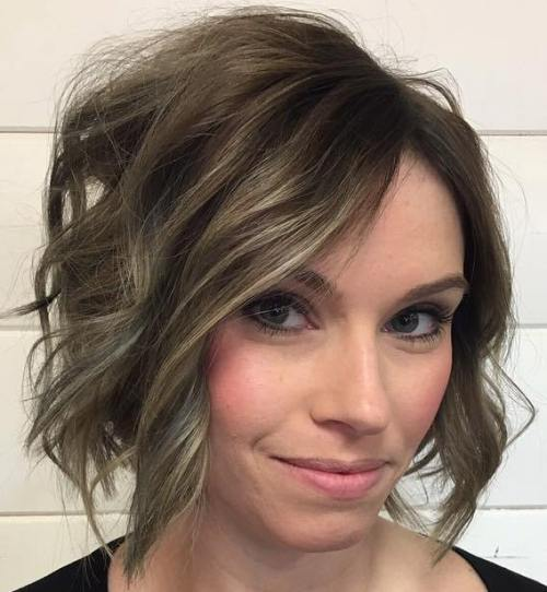 Brown Messy Wavy Bob