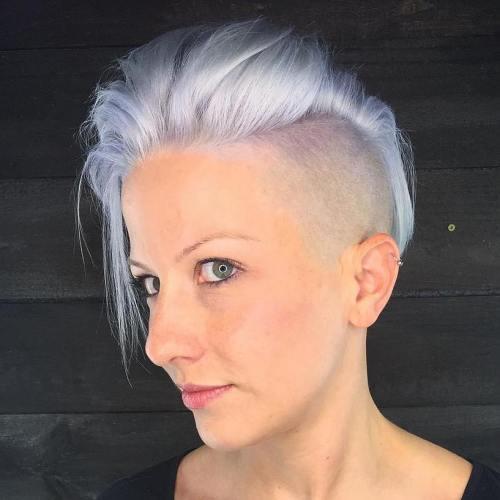 short monochromatic platinum blonde hair