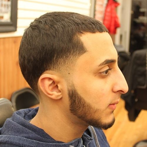 classic Caesar Haircut with temple fade