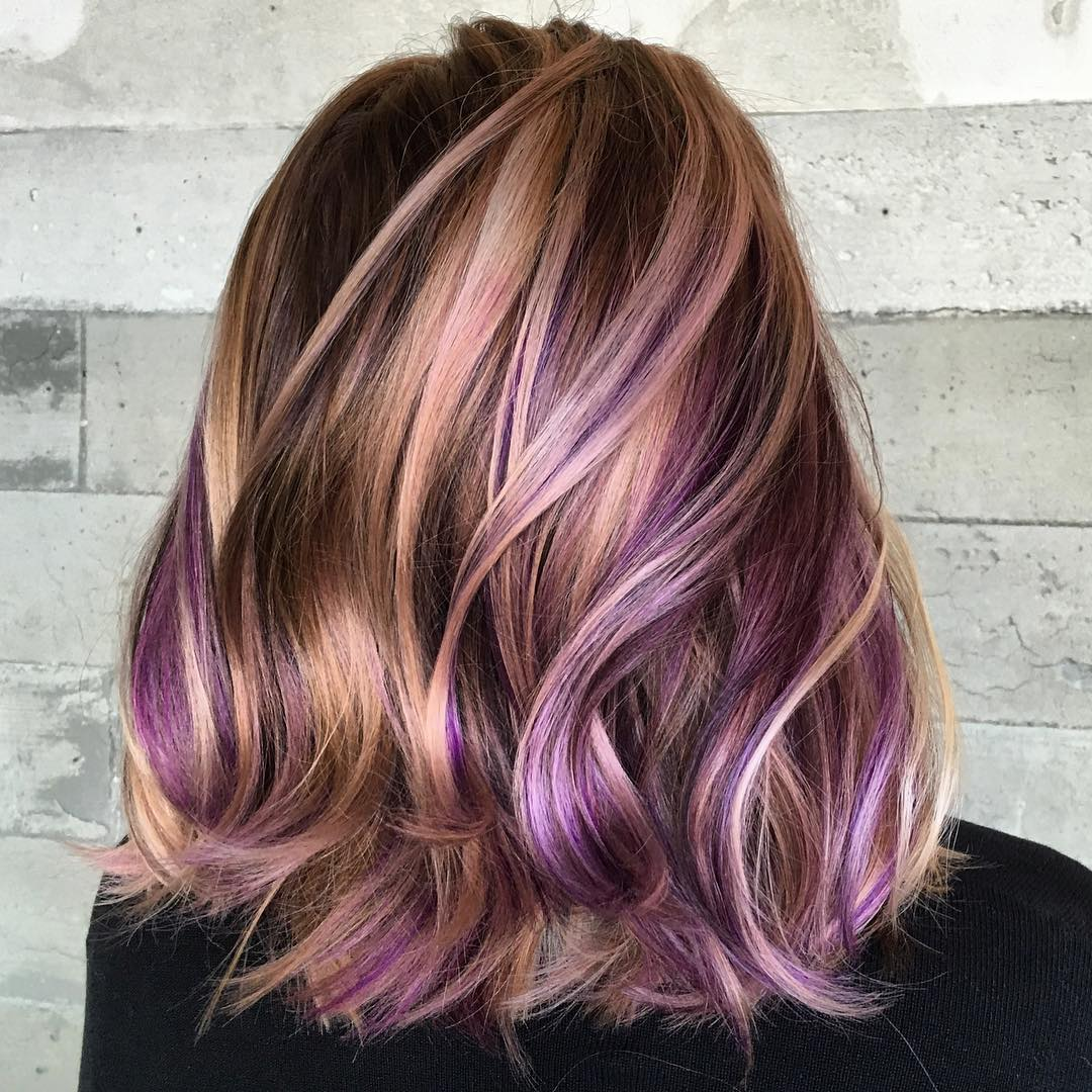 Dark Brown Hair Multi Color Highlights Trendy Hairstyles In The Usa