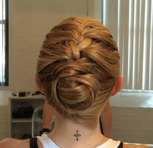 french braid into sporty bun updo