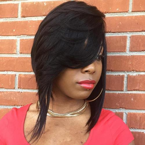 Angled Sew In Bob With Bangs