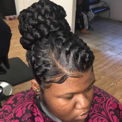 formal chunky bun updo with goddess braids
