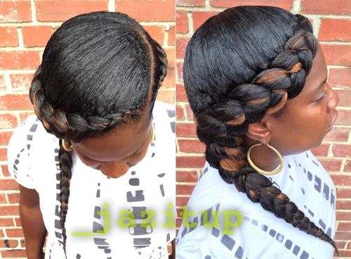 side braid hairstyle for African American women