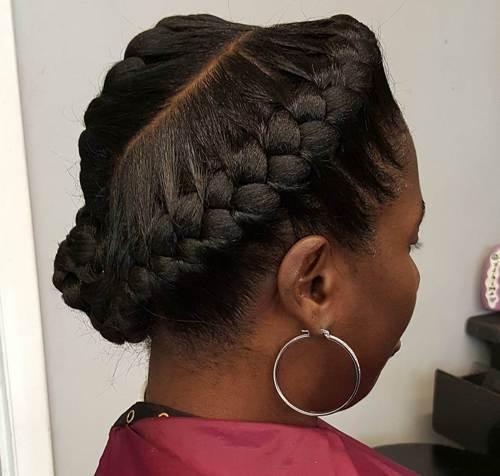 asymmetrical updo with goddess braids