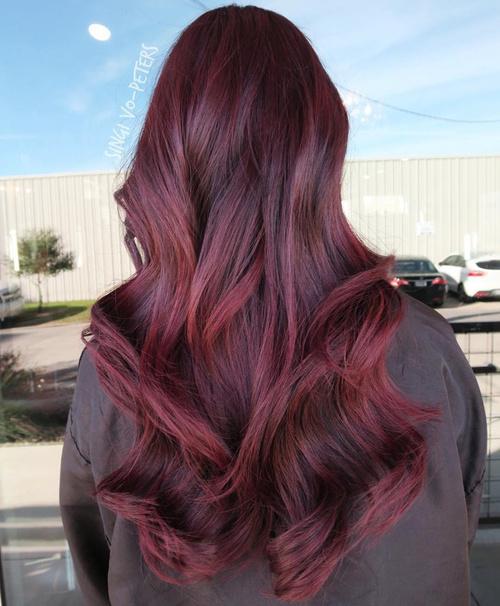 long burgundy hair