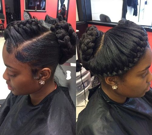 black asymmetrical braided updo