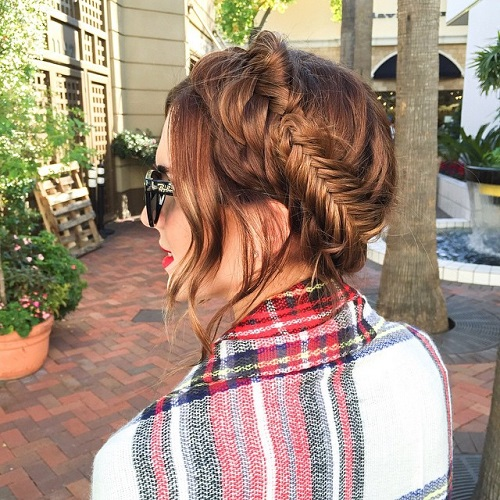 updo with messy fishtail braid