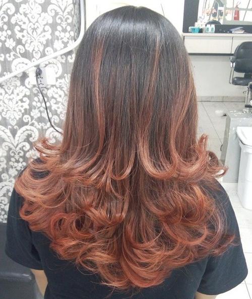 Auburn Balayage For Dark Brown Hair