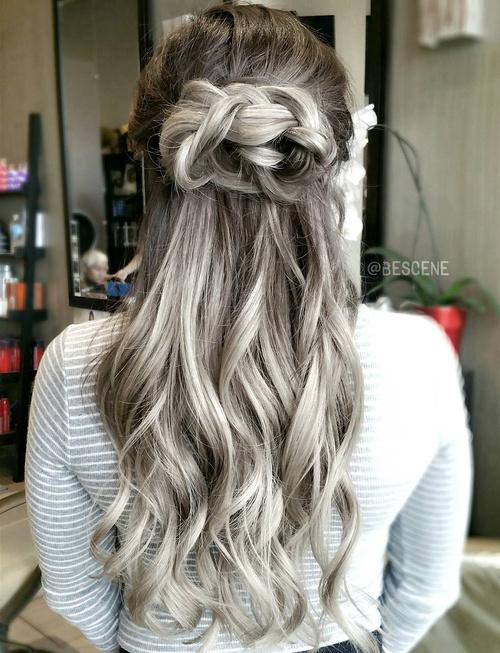 Ash Brown Hair With Silver Balayage