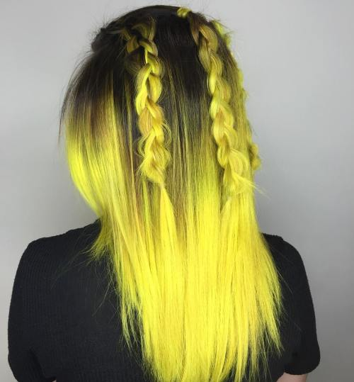 Black Hair With Yellow Ombre