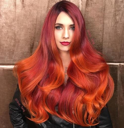 Burgundy And Orange Balayage Hair