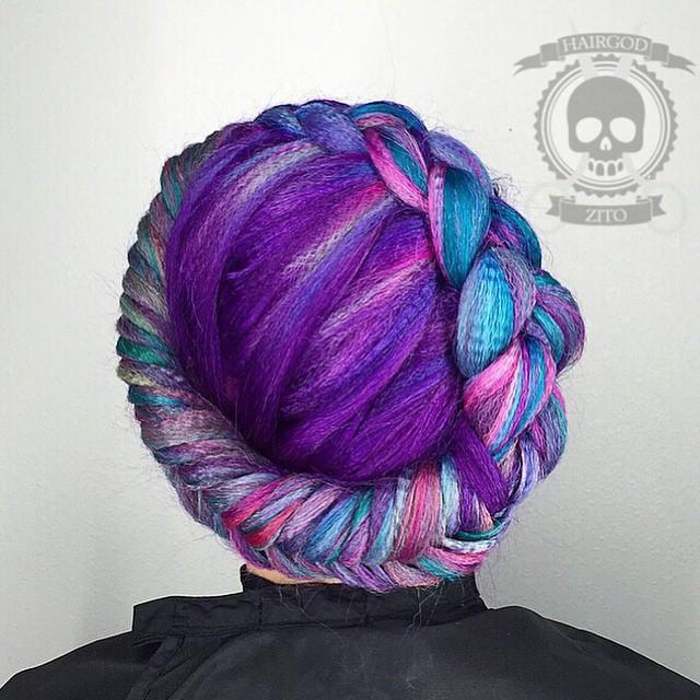 Crown Braid For Purple Crimped Hair