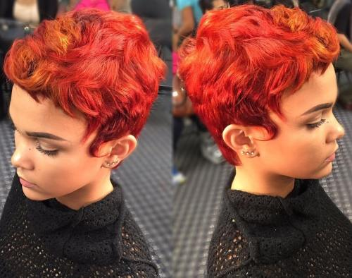 Red Curly Pixie For Thick Hair