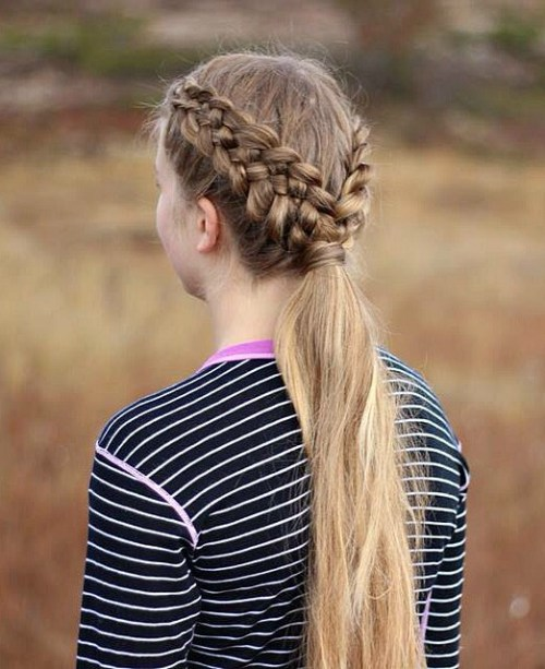 Two Five Strand Braids With A Low Ponytail
