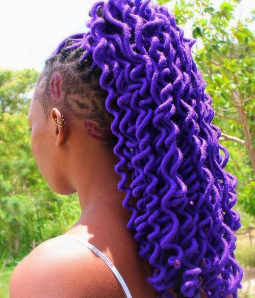 Purple Faux Locs With Side Undershaves