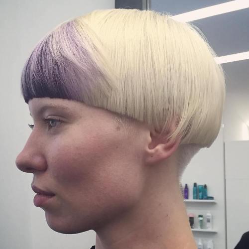 Blonde Mushroom Cut With Purple Bangs