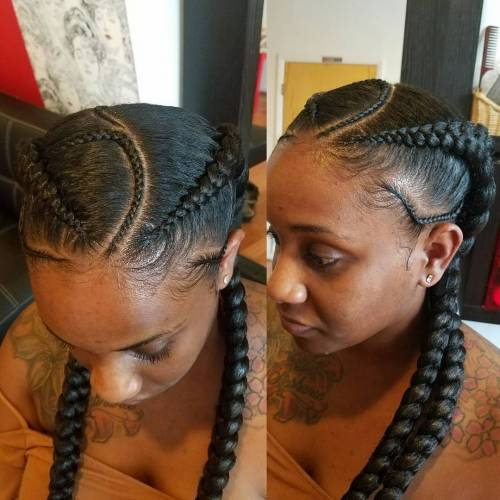 Asymmetrical Ghana Braids