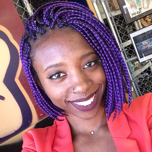 Asymmetrical Purple Bob Braids Bob