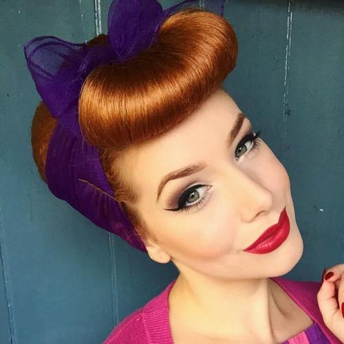 Pin Up Updo With A Head Scarf