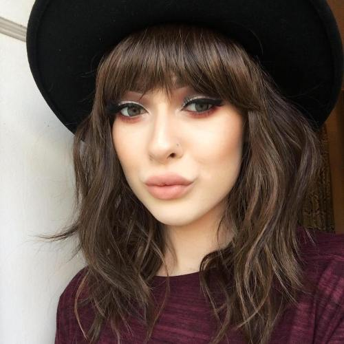 Brown Layered Wig With Bangs