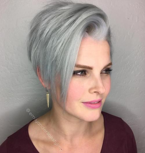 Side-Swept Gray Pixie