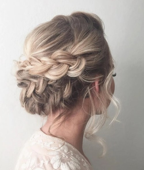 Loose Updo With Dutch Braids