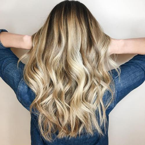 Long Bronde Wavy Hairstyle
