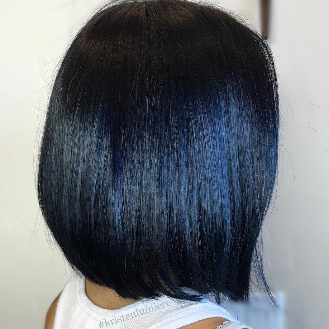 Black hair subtle blue highlights